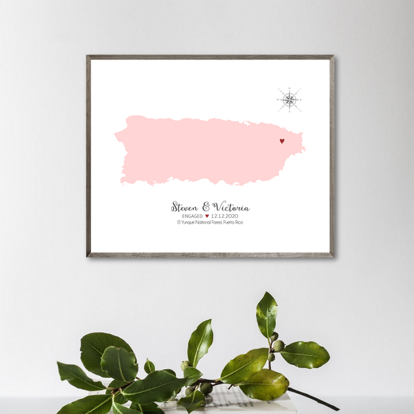 engagement location map-anniversary gift for him-gift for ger