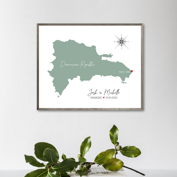 engagement location map-wedding location map-gift for her