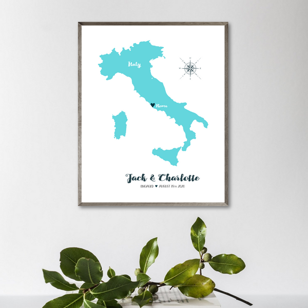 engagement map print-personalized gift for travel couple