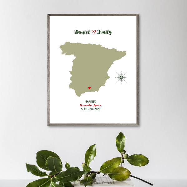 wedding location map-anniversary gift for husband-personalized gift for couple