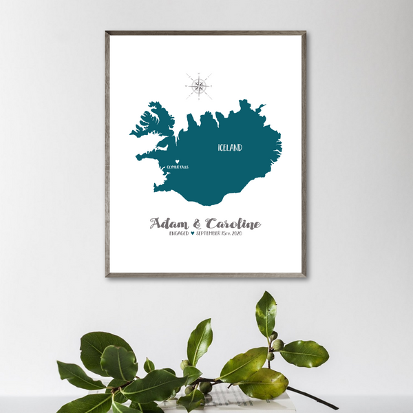 personalized engagement map-wedding location map-gift for him-gift for her