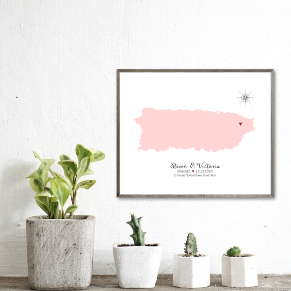 personalized engagement map-engagement location map-anniversary gift for him