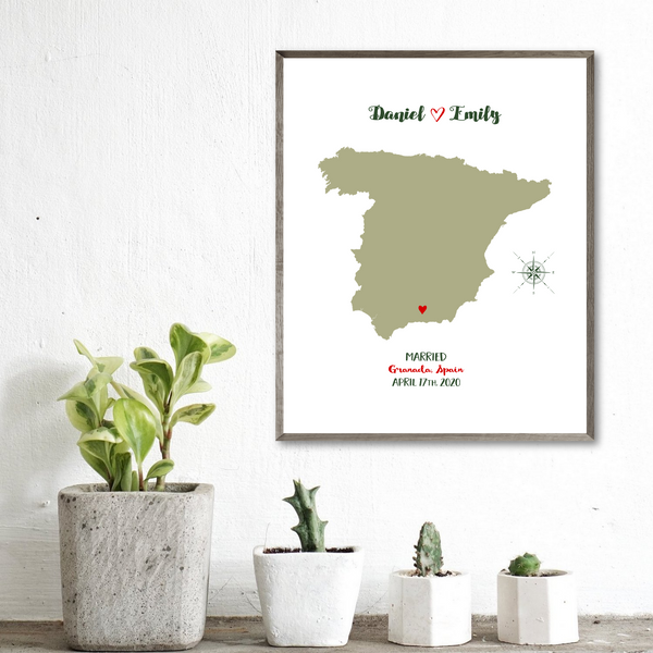 wedding location map-personalized gift for couple-anniversary gift for husband