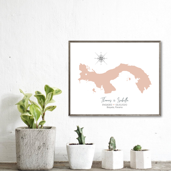 engagement location map-personalized gift for couple