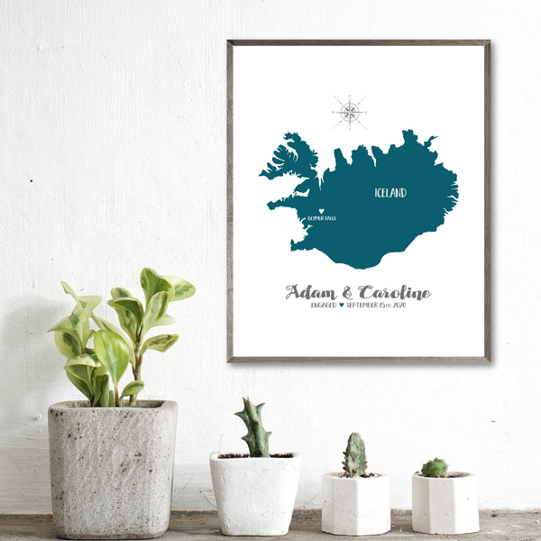personalized wedding location map-couple gift ideas