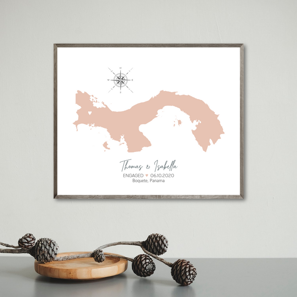 engagement location map-personalized gift for travel couple