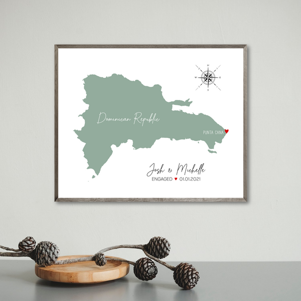 engagement map print-wedding map-personalized gift for travel couple