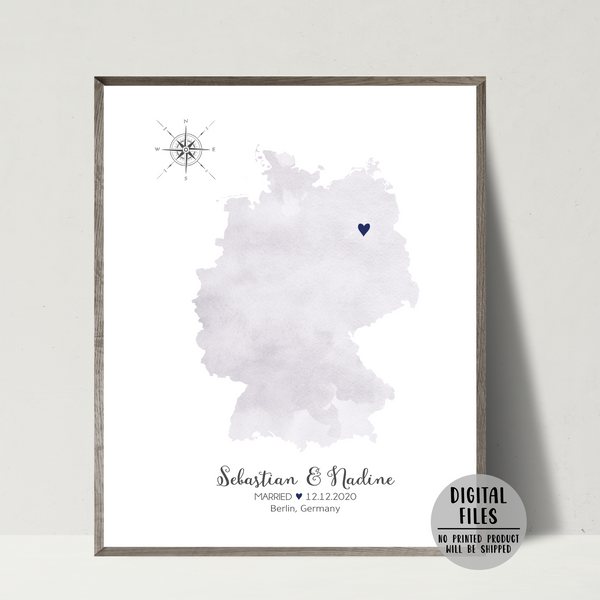 personalized wedding location map-gift for her-gift for him