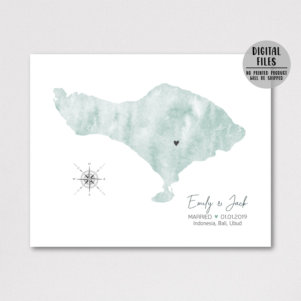 personalized wedding map print-watercolor map-gift for couple
