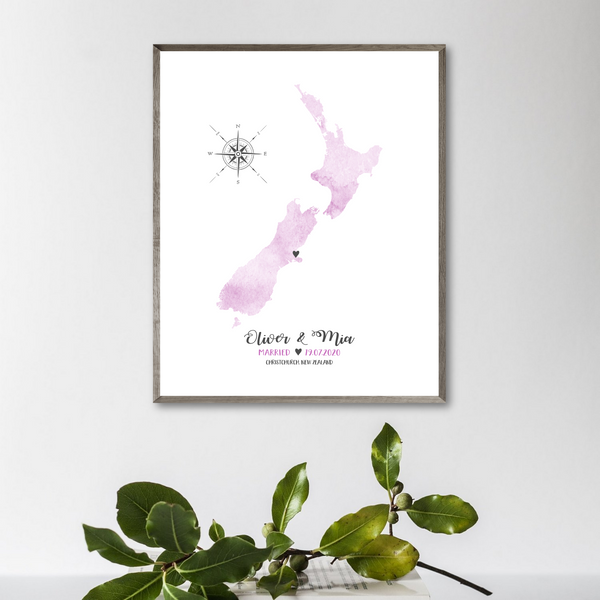 wedding location map print-personalized wedding map gift