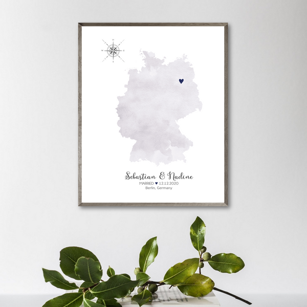 personalized wedding location map-gift for couple-watercolor map