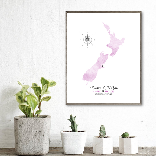 personalized wedding map print-anniversary gift for him-gift for her