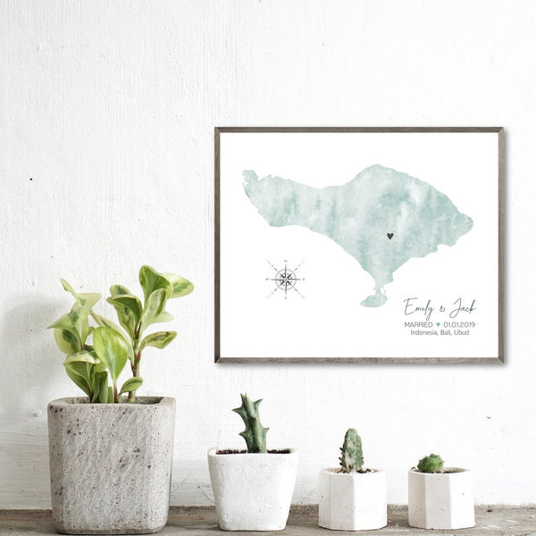wedding map print-personalized gift for him-gift for her