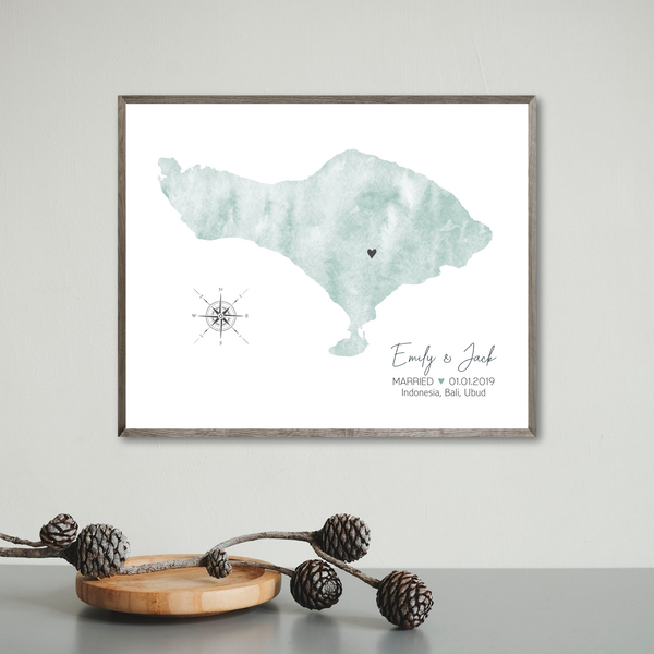 personalized wedding map print-gift for couple-watercolor map