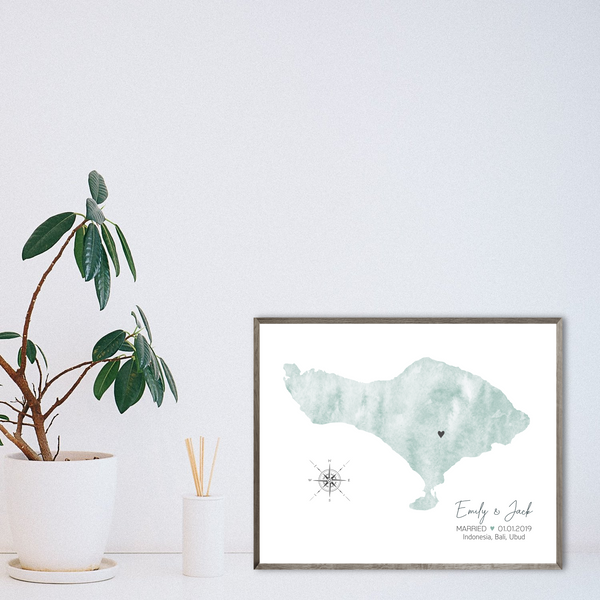 personalized wedding map print-watercolor map-anniversary gift
