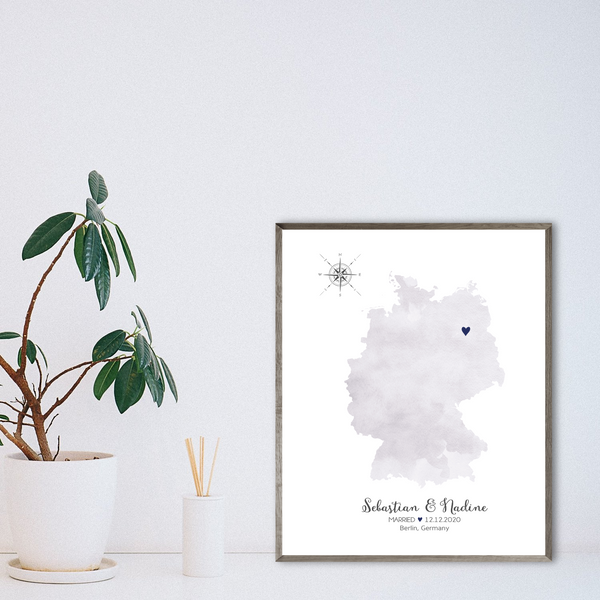 wedding location map print-personalized gift for couple-anniversary gift for husband
