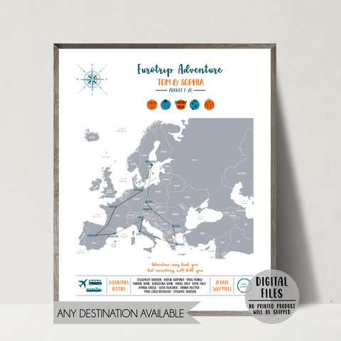 personalized travel map-eruope map-backpacking map