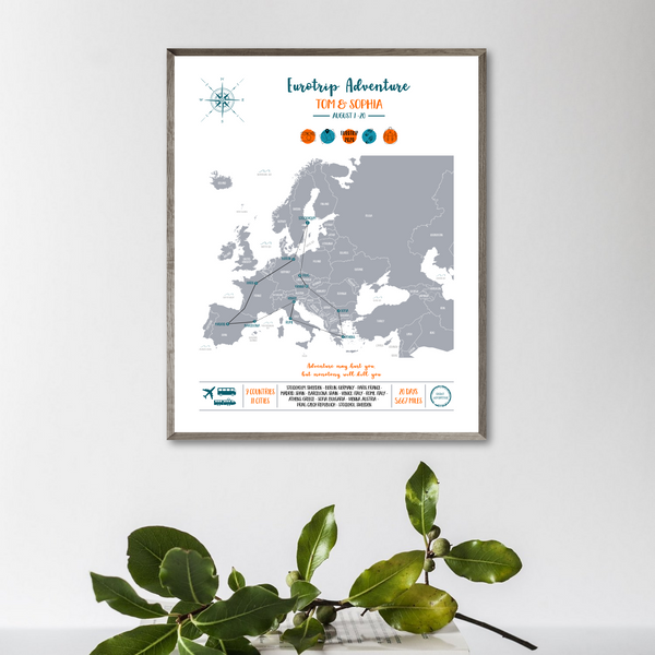 personalized trip map-europe travel map print-backpacker gift