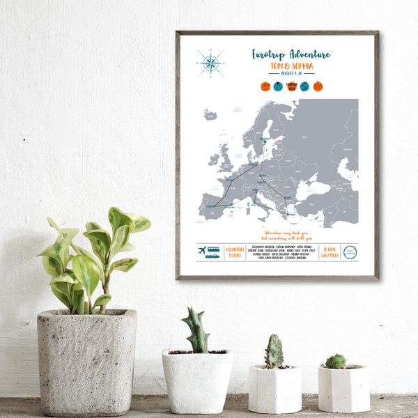 custom trip map-europe trip map print-gift for backpacker
