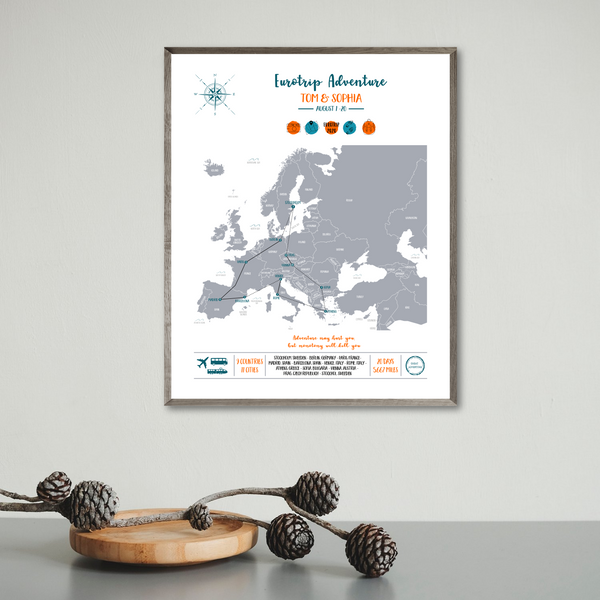 personalized travel map-eurotrip print-backpacking map print