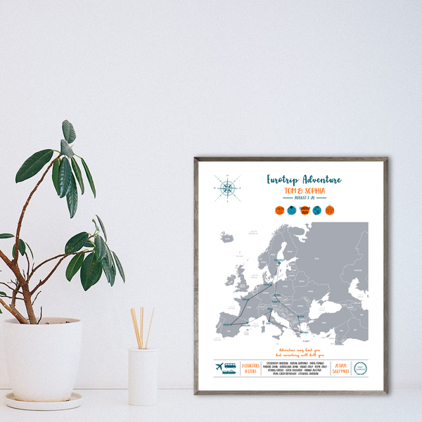 personalized backpacking map-gift for backpacker-europe travel map print