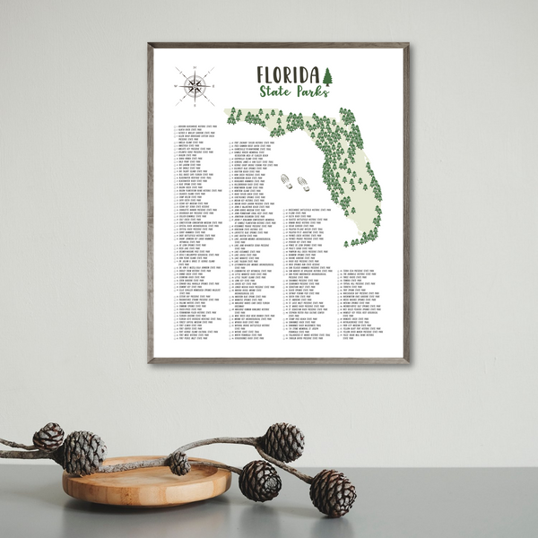 florida state parks map poster-gift for traveler