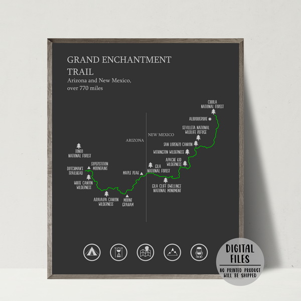 Grand Enchantment trail map print-hiking trail map poster-gift for hiker