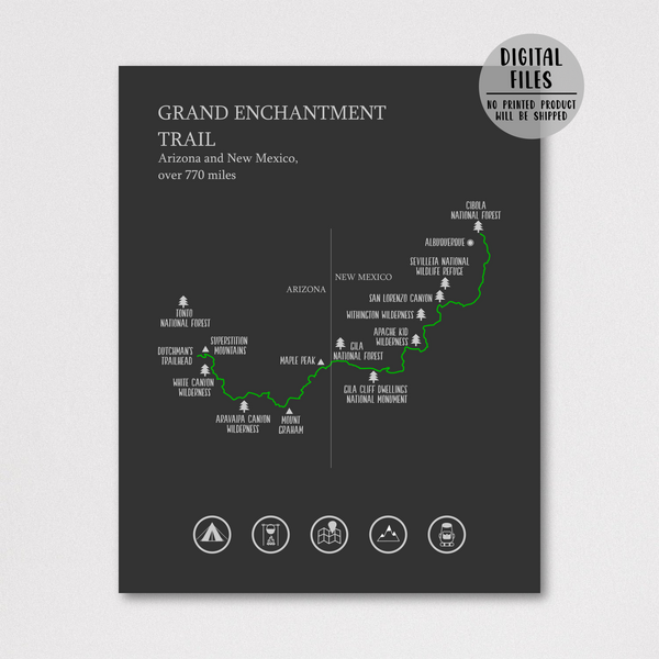 Grand Enchantment trail hiking map print-Grand Enchantment trail poster