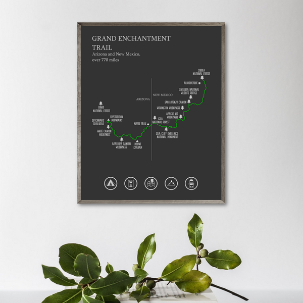 Grand Enchantment trail map print-Grand Enchantment trail poster-hiking gift ideas