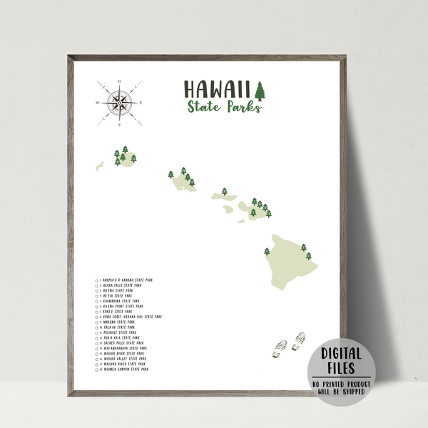 hawaii state parks map print
