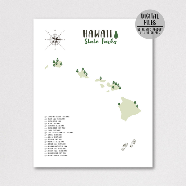 hawaii state parks map poster-gift for traveler