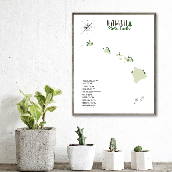 hawaii state parks map poster-adventure gift