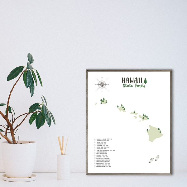 hawaii state parks map-hiking gift ideas