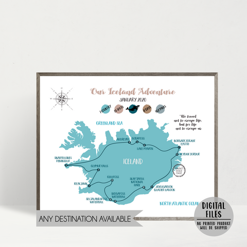 personalized travel map-custom map-iceland road trip map