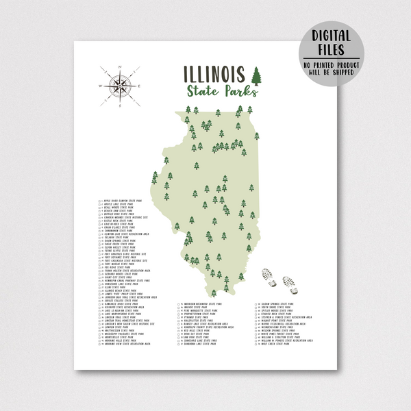 illinois state parks map print-gift for hiker