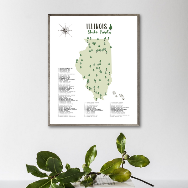 illinois state parks map poster-gift for adventurer