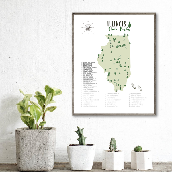 illinois state parks map-hiking gift ideas