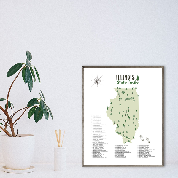 illinois state parks map poster-gift for traveler