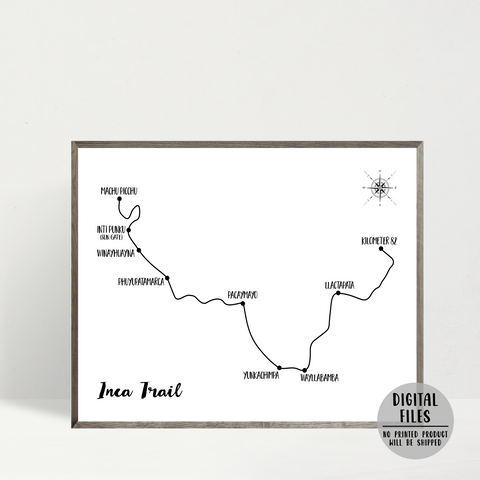 inca trail map-hike to machu picchu-peru