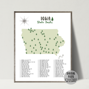 Iowa state parks map-gift for hiker