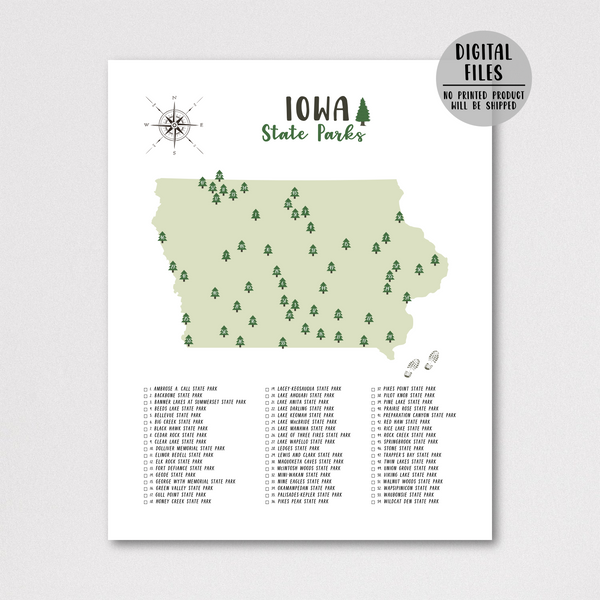 Iowa state parks map print-hiking gift ideas