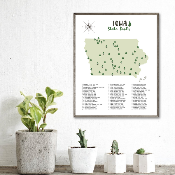 Iowa state parks map poster-hiking gift ideas