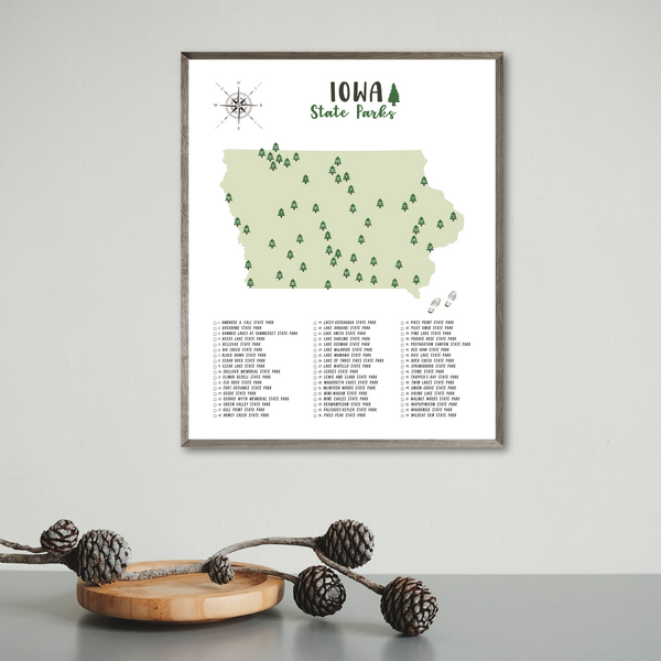 Iowa state parks map print-gift for traveler