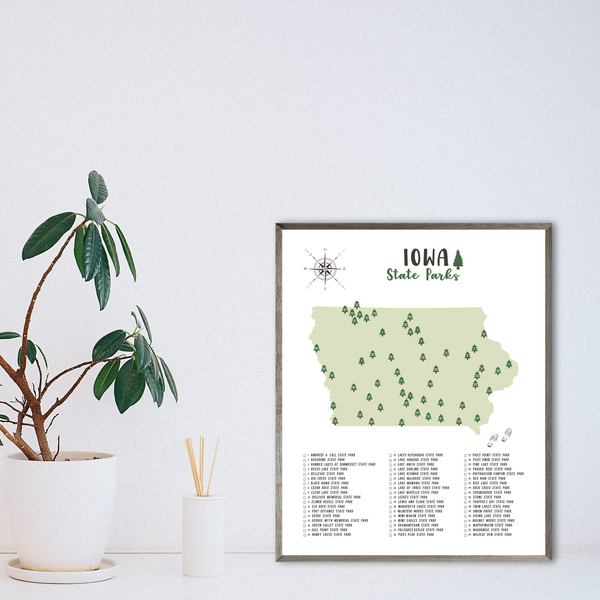 Iowa state parks map-adventure map print