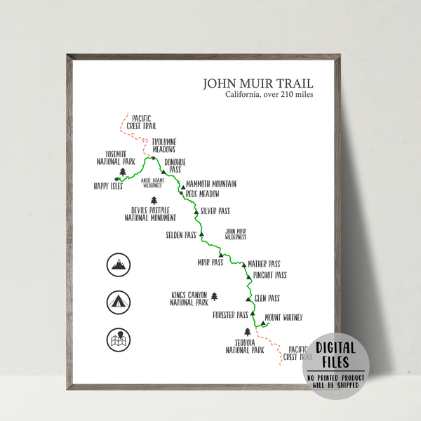 john muir trail map print-gift for hiker