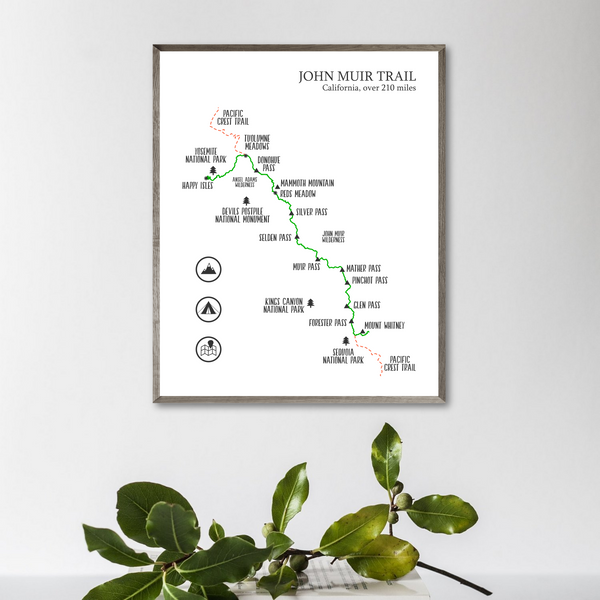 john muir trail map print-hiking gift ideas-hiking trail map