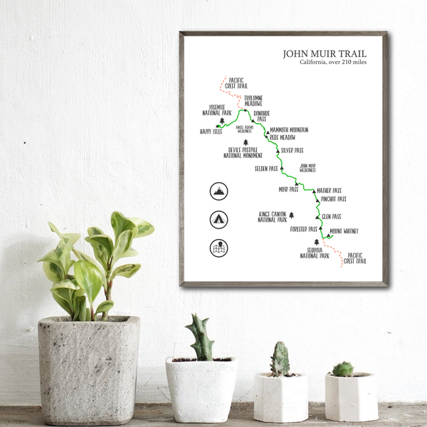 john muir trail map print-hiking trail map poster