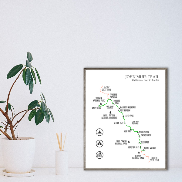 john muir trail map-hiking trail map poster