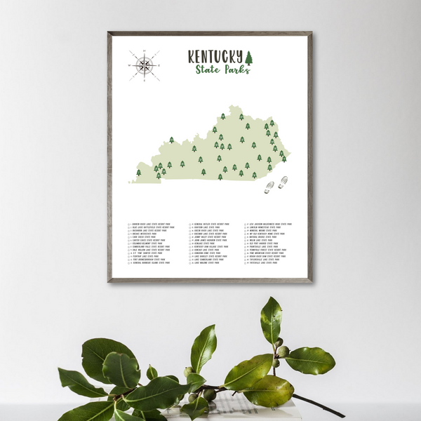 kentucky state parks map poster-kentucky state parks checklist