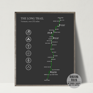 the long trail map print-gift for hiker-adventure map